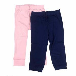 Carter's Pink Blue Toddler Girl Leggings Solid Bow